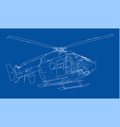 outline drawing of helicopter vector image