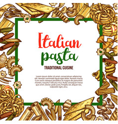 Pasta sketch poster for italian cuisine vector