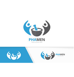 Pharmacy and people logo combination vector