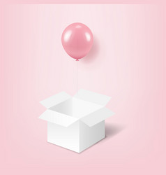 Pink balloons with white box pink background vector