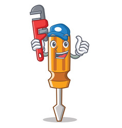 plumber screwdriver character cartoon style vector image