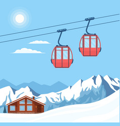 Red ski cabin lift for skiers and snowboarders vector
