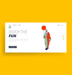 scary clown with balloon landing page template vector image