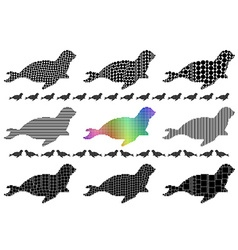 Seal silhouette mosaic set vector image