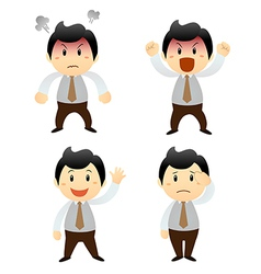 Set cartoon business man vector