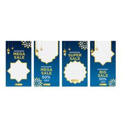 Set instagram stories ramadan sale banner vector