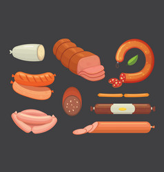 Set of cartoon sausage bacon sliced vector