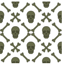 set seamless patterns with skull and bones vector image