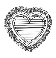 silhouette heart shape with lines pattern with vector image