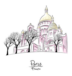 sketch of sacre coeur in paris france vector image