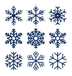 snowflakes icons set of snowflakes texture vector image