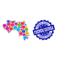 social network map of french guinea with speech vector image