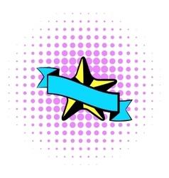 Star award icon comics style vector