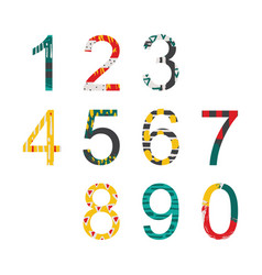 summer bright decorated numbers in hand drawn vector image