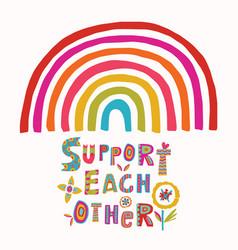 Support each other rainbow corona virus vector