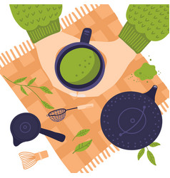 Top view hands with cup matcha tea flat lay vector