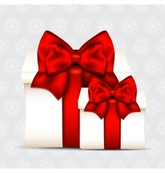 Two gift boxes with red bow isolated on christmas vector