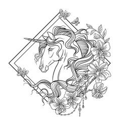 Unicorn head coloring book rhombus vector