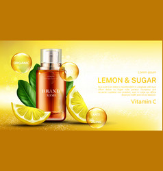 vitamin cosmetics bottle with lemon and sugar vector image