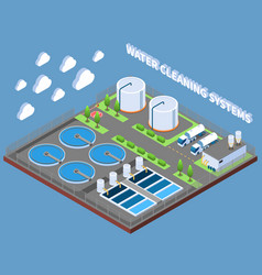 Water cleaning systems isometric composition vector
