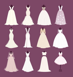 wedding bride dress different edsign vector image