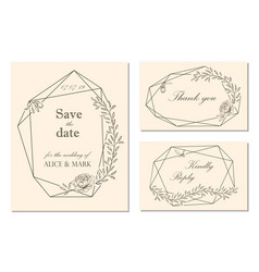 wedding invitation rsvp save date card design vector image