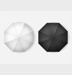 white and black open umbrellas top view mockups vector image