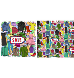 Woman clothes sale print and seamless pattern set vector