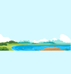wooden lake pier nature landscape vector image
