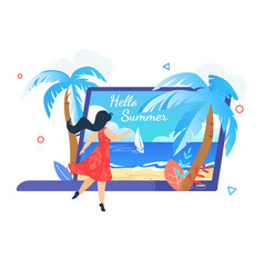 Young woman stand at huge laptop with seascape vector