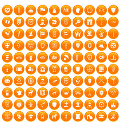 100 shield icons set orange vector
