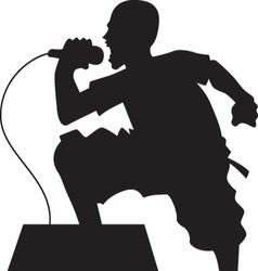 rock singer silhouette vector image vector image