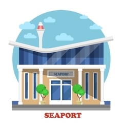 Seaport at seasight building exterior view vector