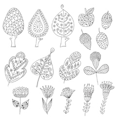 Set of cartoon doodle trees flowers fruits vector image vector image