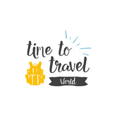 time to travel world icon hand drawn lettering vector image vector image