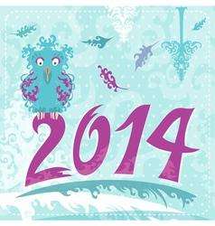 2014 christmas card with owl vector image