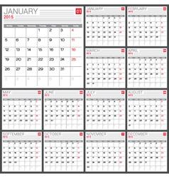 2015 Full calendar vector image vector image