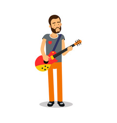 bearded man playing guitar during concert cartoon vector image vector image
