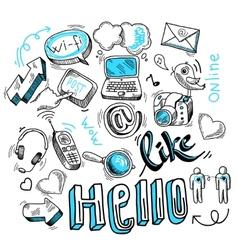 Doodle social media signs vector image vector image