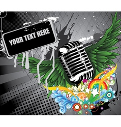microphone with wings vector image vector image