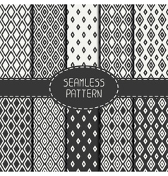 Set of monochrome geometric seamless pattern with vector image vector image