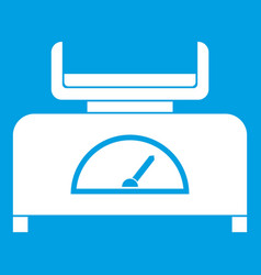 Weight scale icon white vector