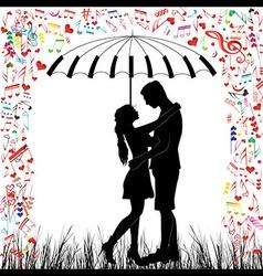 couple piano Kissing couple heart rain vector image vector image