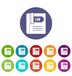 Law book set icons vector image vector image