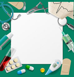 medical template and frame with medicine equipment vector image