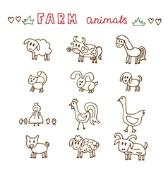 Set of hand drawn farm animals Sheep cow horse pig vector image vector image