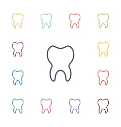 tooth flat icons set vector image vector image