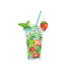 Watercolor strawberry mojito cocktail vector