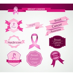 Breast cancer care awareness ribbon and stamps vector