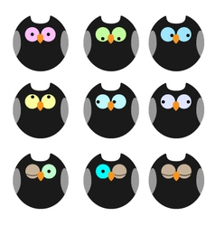 Various of owls icons set vector image vector image